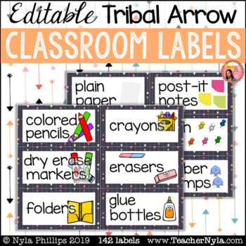 Tribal Classroom Supply Labels with Pictures - Arrows - Editable