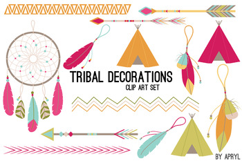Tribal Clip Art Brights PNG Clip Art for Commercial Projects Arrow Dreamcatcher