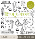 Tribal Clip Art Bundle, over 50 illustrations, tribal icons, tribal graphics