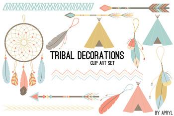 Tribal Clip Art Pastel PNG Clip Art for Commercial Projects Arrow Dreamcatcher