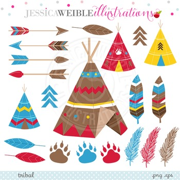 Tribal Cute Clipart, TeePee Graphics, Tribal Clip Art, Feathers, Arrows