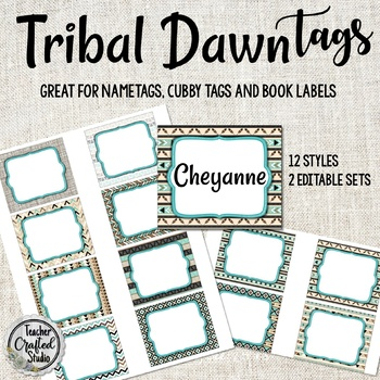 Tribal Dawn Tags, Book Bin Tags, Coat Hook Tags, Center Tags