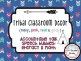 Tribal Decor Accountable Talk Speech Bubbles {Navy, Pink, Teal & Gray}