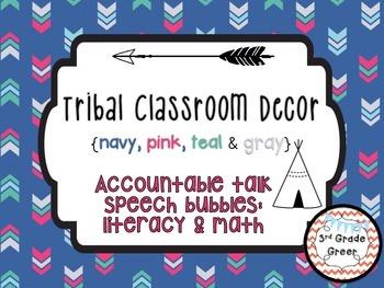 Tribal Decor Accountable Talk Speech Bubbles {Navy, Pink, Teal & Gray}