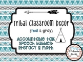 Tribal Decor Accountable Talk Speech Bubbles {Teal & Gray}