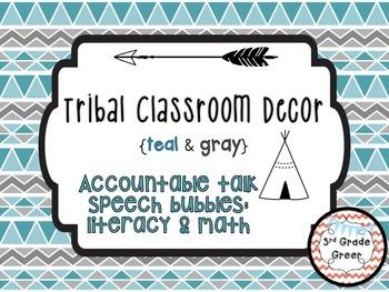 Tribal Decor Accountable Talk Speech Bubbles {Teal & Gray}