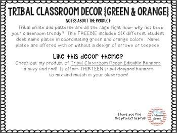Tribal Decor Desk Name Plates {Green & Orange}
