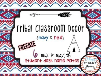 Tribal Decor Desk Name Plates {Navy & Red}