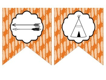 Tribal Decor Editable Banners {Green & Orange}