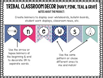 Tribal Decor Editable Banners {Navy, Pink, Teal & Gray}