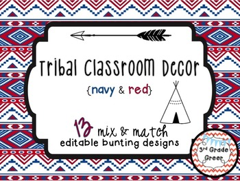 Tribal Decor Editable Banners {Navy & Red}