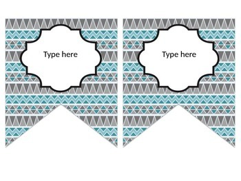 Tribal Decor Editable Banners {Teal & Gray}