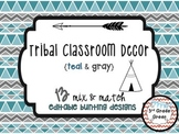 Tribal Decor Editable Banners {Teal & Gray}