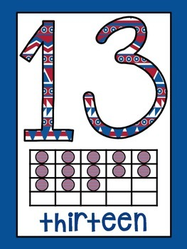 Tribal Decor Number Signs 0-20 {Navy & Red}