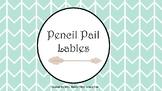 Tribal Decor Pencil Pail Lables (Pink, Mint, Gray)