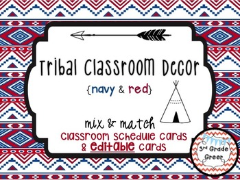 Tribal Decor Schedule Cards & Editable Cards {Navy & Red}