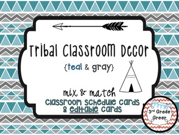 Tribal Decor Schedule Cards & Editable Cards {Teal & Gray}