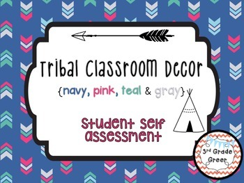 Tribal Decor Student Self Assessment {Navy, Pink, Teal & Gray}