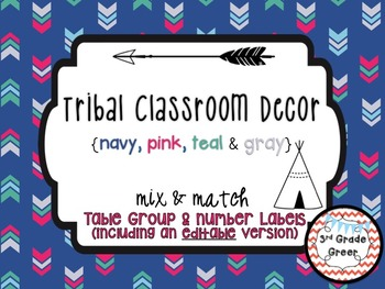 Tribal Decor Table Group & Number Labels {Navy, Pink, Teal & Gray}