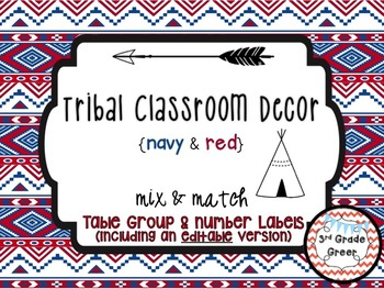 Tribal Decor Table Group & Number Labels {Navy & Red}