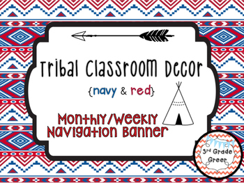 Tribal Decor Weekly & Monthly Adventure Banner {Navy & Red}