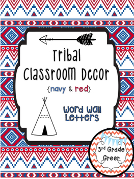 Tribal Decor Word Wall Letters {Navy & Red}
