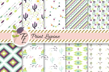 Tribal Desert digital paper. Native American ethnic. Cactus and arrows.