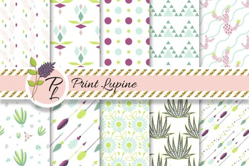 Tribal Desert flora digital paper. Cactus, agave, arrows.