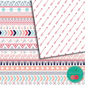 Tribal Digital Paper - Coral and Navy