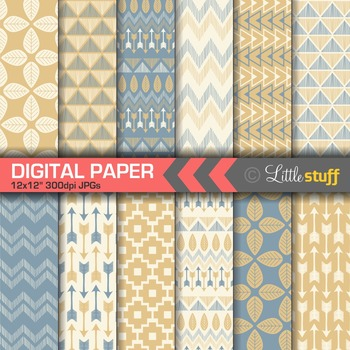 Tribal Digital Paper in Blue & Dusty Orange, Tribal Print Backgrounds, Aztec