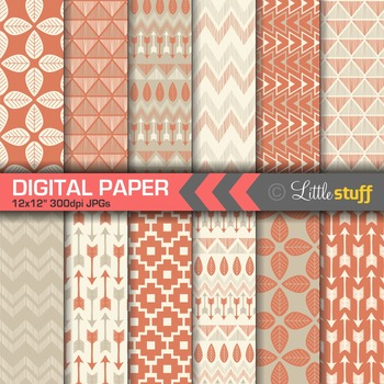 Tribal Digital Paper in Brick Red & Pewter, Tribal Print Backgrounds, Aztec
