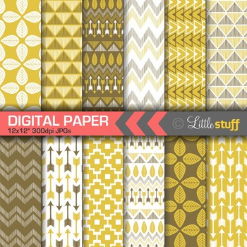 Tribal Digital Paper in Yellow and Brown, Tribal Print Backgrounds, Aztec