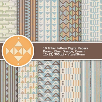 Neutral Tribal Digital Paper, 10 Printable Native American Background Patterns