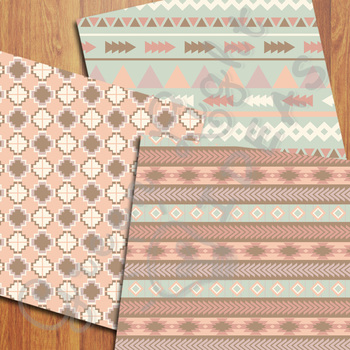 Tribal Digital Papers / Tribal Backgrounds / Aztec Papers / Navajo Backgrounds