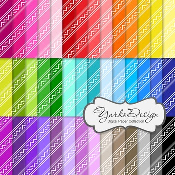 Tribal Digital Pattern Scrapbooking Paper Set, 42 Digital Papers
