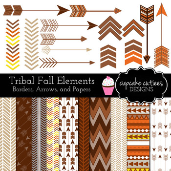 Tribal Autumn Fall Thanksgiving  Digital Clip Art and Paper Elements