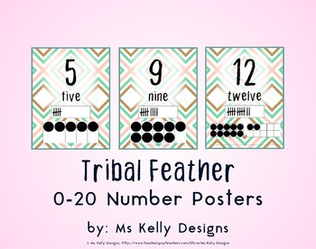 Tribal Feather 0-20 Number Posters