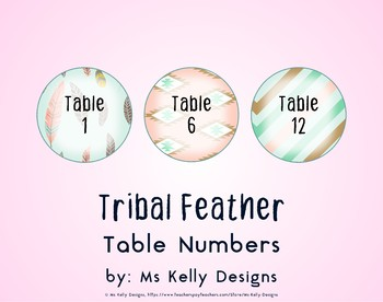 Tribal Feather 1-12 Table Numbers