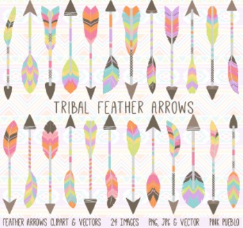Tribal Feather Arrow Clip Art Clipart Vectors - Commercial and Personal