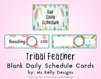 Tribal Feather Blank Daily Schedule Cards