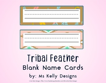 Tribal Feather Blank Name Cards