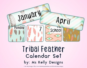 Tribal Feather Classroom Calendar Set