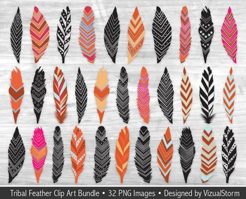 Tribal Feather Clip Art Bundle, 32 Native American Feathers and Silhouettes