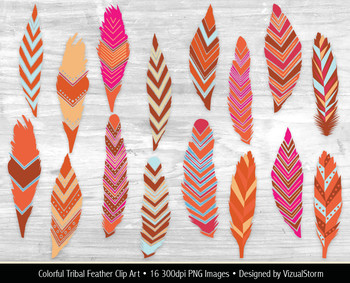 Tribal Feather Clip Art, 16 Native American Feather Clipart Illustrations