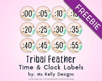 Tribal Feather Time and Clock Labels