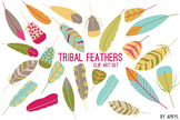 Tribal Feathers Bright PNG Clip Art for Commercial Projects
