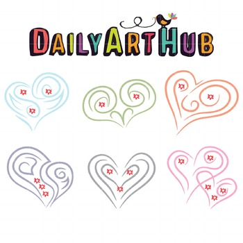 Tribal Hearts Clip Art - Great for Art Class Projects!