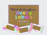 Tribal Herringbone Editable Classroom Labels 2x4 { Avery Label 8163 }