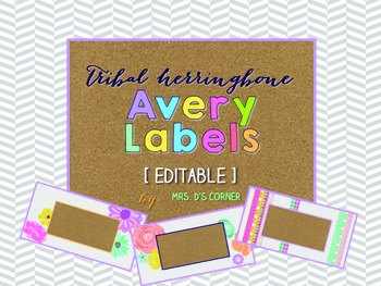 Tribal Herringbone Editable Classroom Labels 2x4 { Avery Label 8163 }