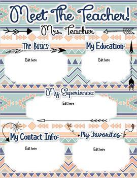 Tribal Theme Meet the Teacher